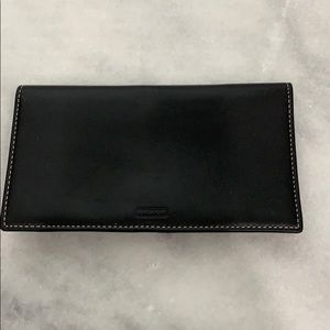 Black leather Coach checkbook/wallet
